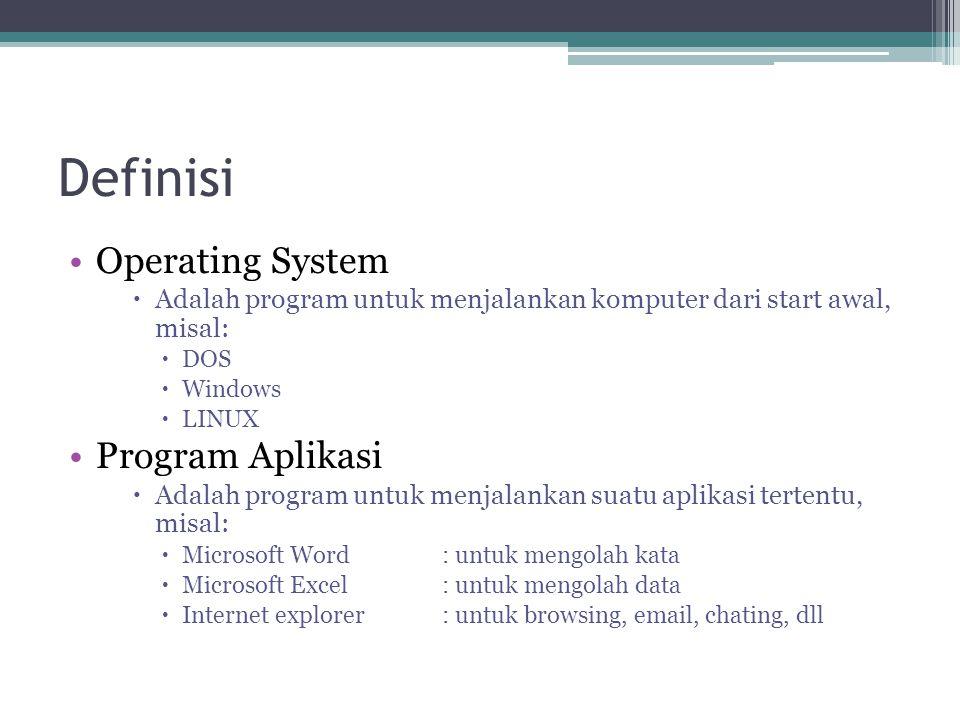 Definisi Operating System  Adalah program untuk menjalankan komputer dari start awal, misal:  DOS  Windows  LINUX Program Aplikasi  Adalah progra