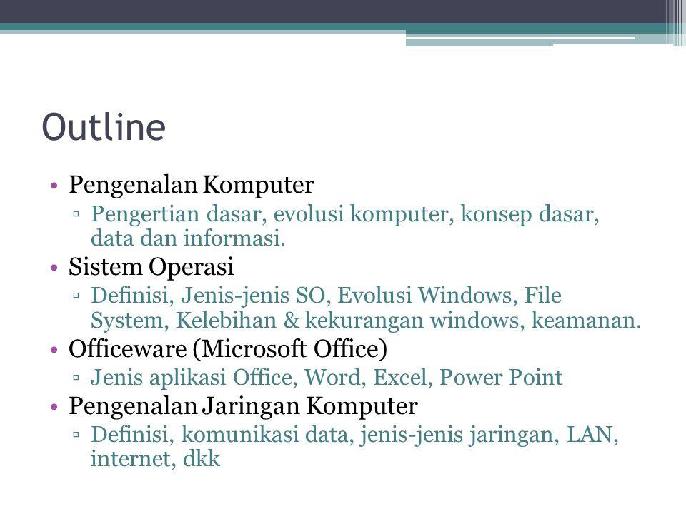 Outline Pengenalan Komputer ▫Pengertian dasar, evolusi komputer, konsep dasar, data dan informasi. Sistem Operasi ▫Definisi, Jenis-jenis SO, Evolusi W