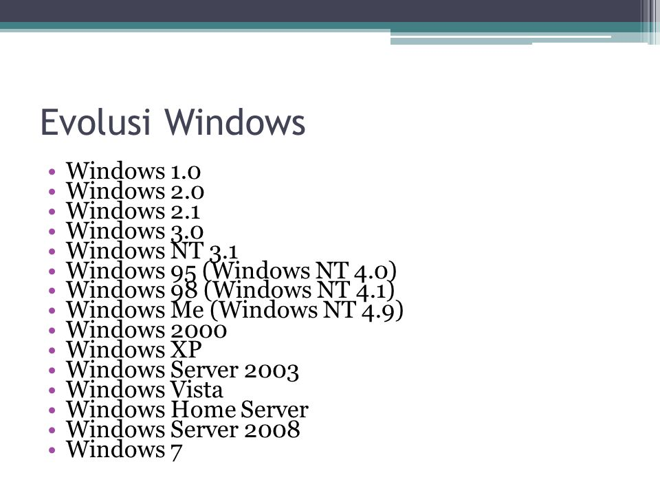 Evolusi Windows Windows 1.0 Windows 2.0 Windows 2.1 Windows 3.0 Windows NT 3.1 Windows 95 (Windows NT 4.0) Windows 98 (Windows NT 4.1) Windows Me (Win