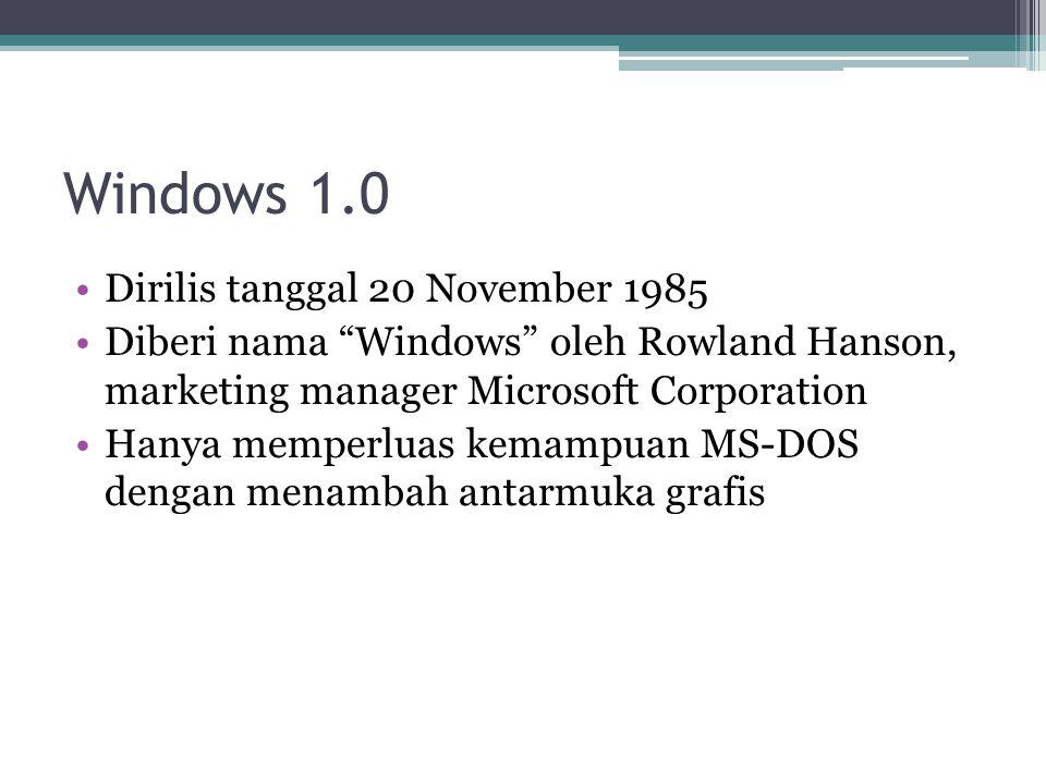 """Windows 1.0 Dirilis tanggal 20 November 1985 Diberi nama """"Windows"""" oleh Rowland Hanson, marketing manager Microsoft Corporation Hanya memperluas kemam"""