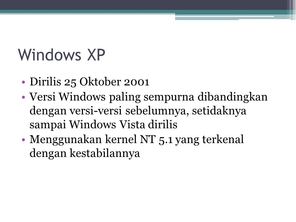 Windows XP Dirilis 25 Oktober 2001 Versi Windows paling sempurna dibandingkan dengan versi-versi sebelumnya, setidaknya sampai Windows Vista dirilis M
