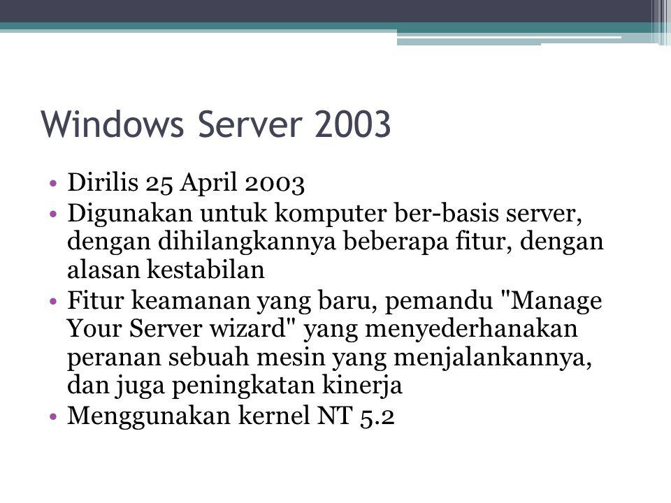 Windows Server 2003 Dirilis 25 April 2003 Digunakan untuk komputer ber-basis server, dengan dihilangkannya beberapa fitur, dengan alasan kestabilan Fi
