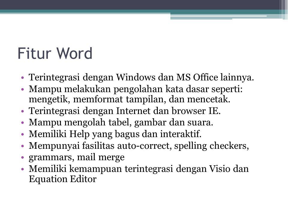 Fitur Word Terintegrasi dengan Windows dan MS Office lainnya. Mampu melakukan pengolahan kata dasar seperti: mengetik, memformat tampilan, dan menceta