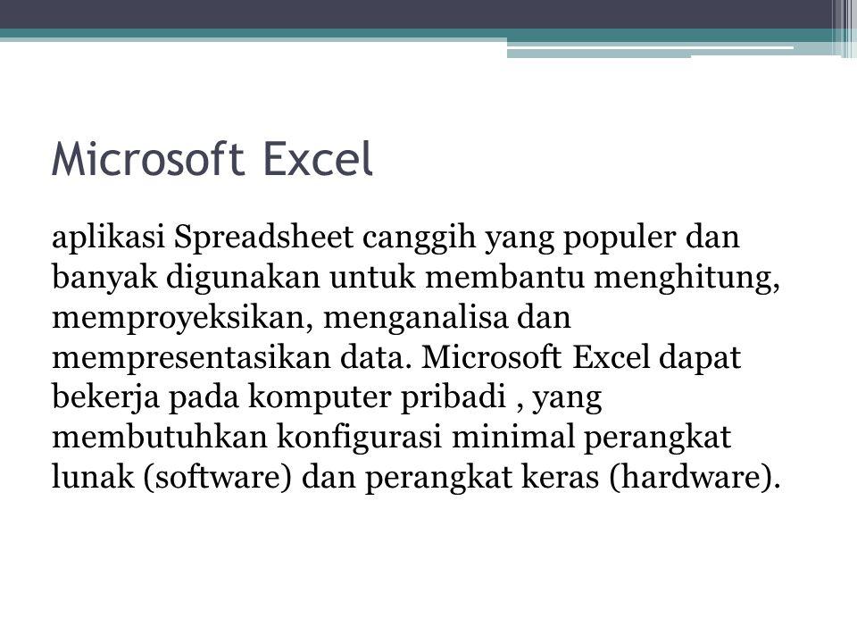 Microsoft Excel aplikasi Spreadsheet canggih yang populer dan banyak digunakan untuk membantu menghitung, memproyeksikan, menganalisa dan mempresentas