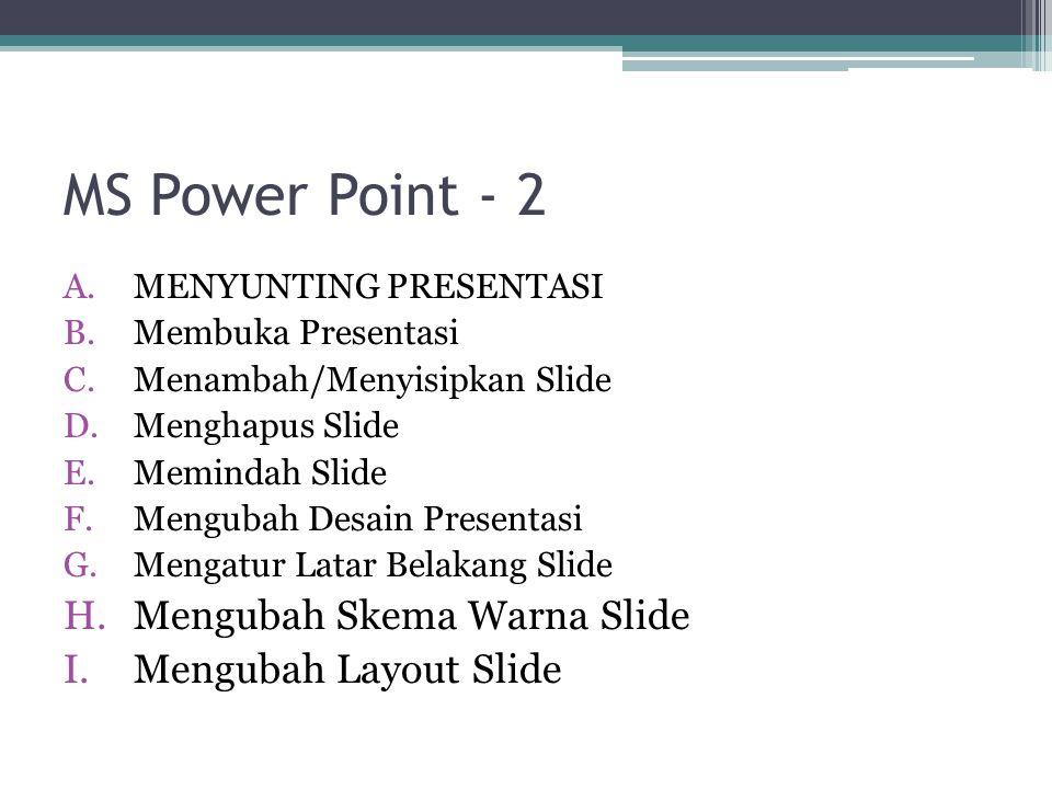 MS Power Point - 2 A.MENYUNTING PRESENTASI B.Membuka Presentasi C.Menambah/Menyisipkan Slide D.Menghapus Slide E.Memindah Slide F.Mengubah Desain Pres
