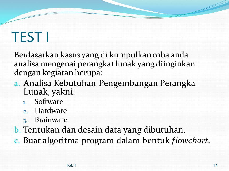 TEST I Berdasarkan kasus yang di kumpulkan coba anda analisa mengenai perangkat lunak yang diinginkan dengan kegiatan berupa: a.