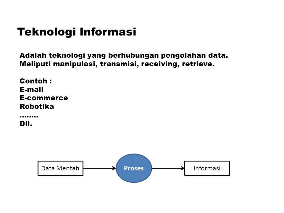 Teknologi Informasi Adalah teknologi yang berhubungan pengolahan data. Meliputi manipulasi, transmisi, receiving, retrieve. Contoh : E-mail E-commerce