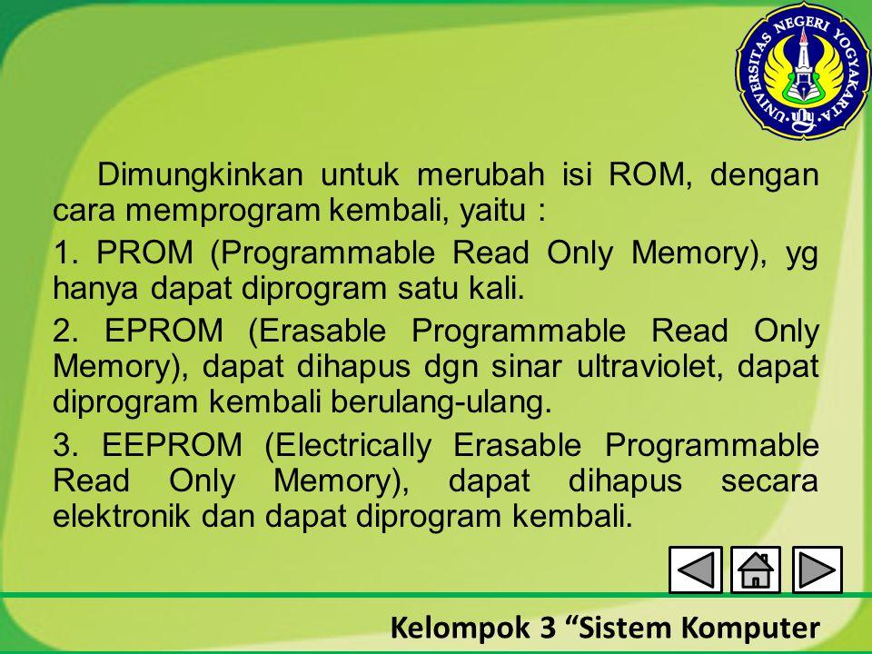 """Kelompok 3 """"Sistem Komputer Dimungkinkan untuk merubah isi ROM, dengan cara memprogram kembali, yaitu : 1. PROM (Programmable Read Only Memory), yg ha"""