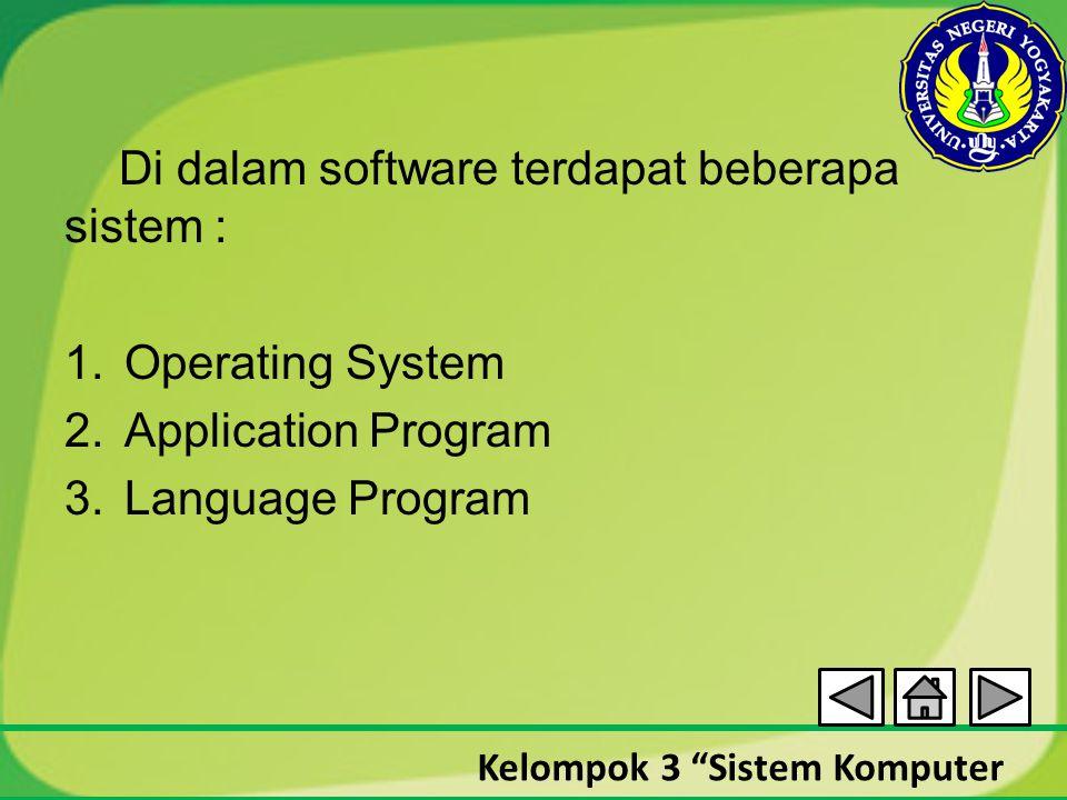 """Kelompok 3 """"Sistem Komputer Di dalam software terdapat beberapa sistem : 1.Operating System 2.Application Program 3.Language Program"""