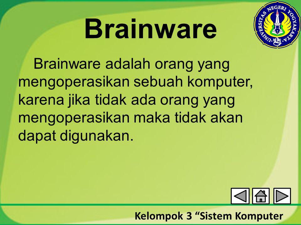 """Kelompok 3 """"Sistem Komputer Brainware Brainware adalah orang yang mengoperasikan sebuah komputer, karena jika tidak ada orang yang mengoperasikan maka"""