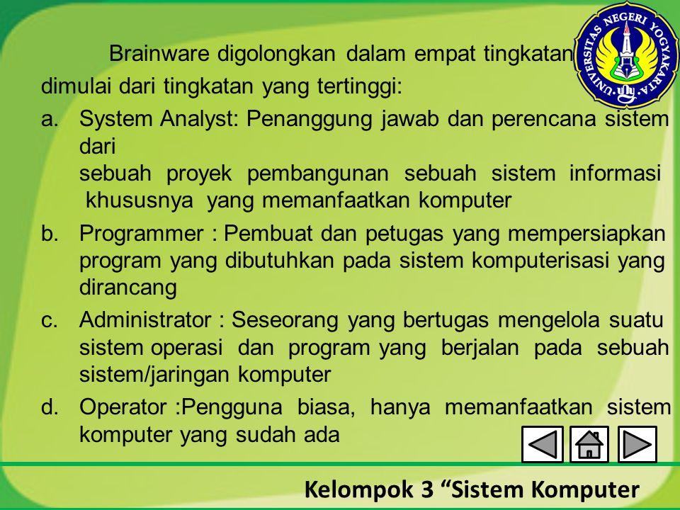 """Kelompok 3 """"Sistem Komputer Brainware digolongkan dalam empat tingkatan dimulai dari tingkatan yang tertinggi: a.System Analyst: Penanggung jawab dan"""