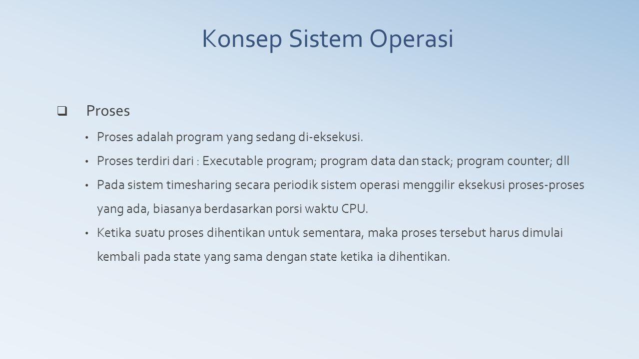  Proses Proses adalah program yang sedang di-eksekusi. Proses terdiri dari : Executable program; program data dan stack; program counter; dll Pada si