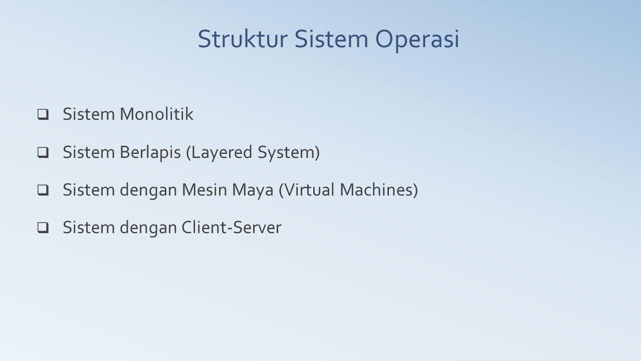  Sistem Monolitik  Sistem Berlapis (Layered System)  Sistem dengan Mesin Maya (Virtual Machines)  Sistem dengan Client-Server Struktur Sistem Oper