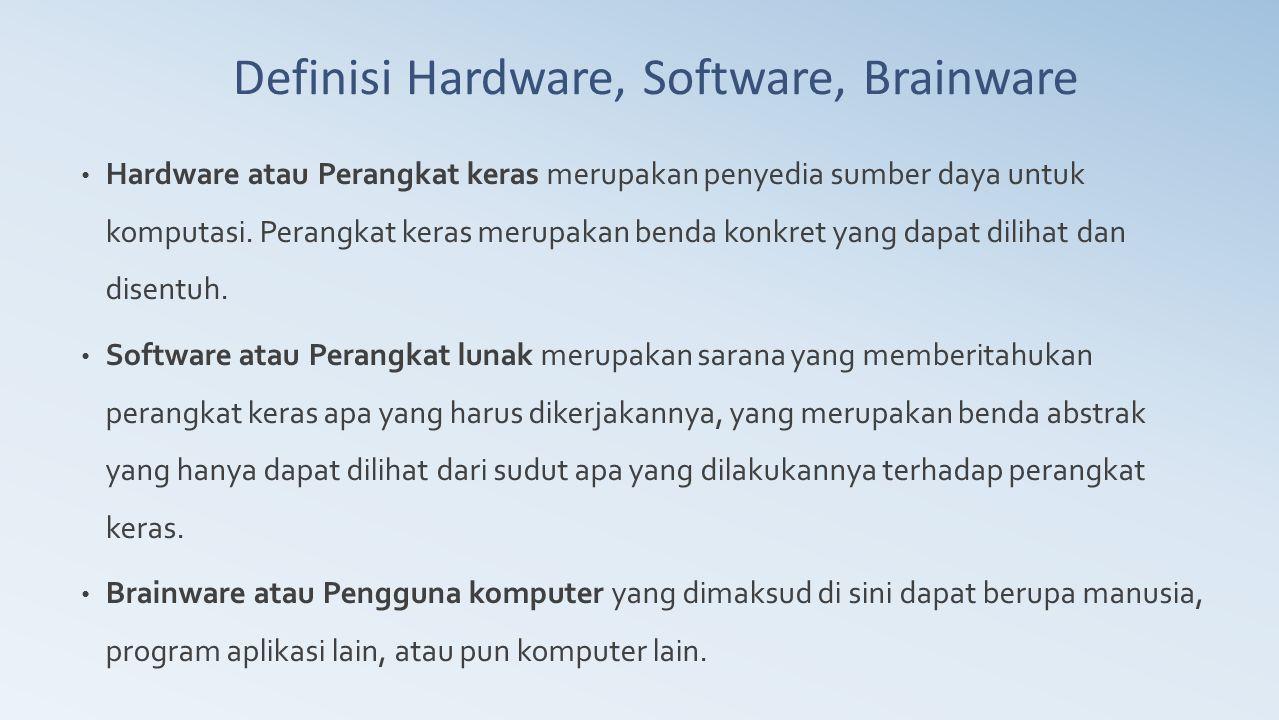 Hardware atau Perangkat keras merupakan penyedia sumber daya untuk komputasi. Perangkat keras merupakan benda konkret yang dapat dilihat dan disentuh.