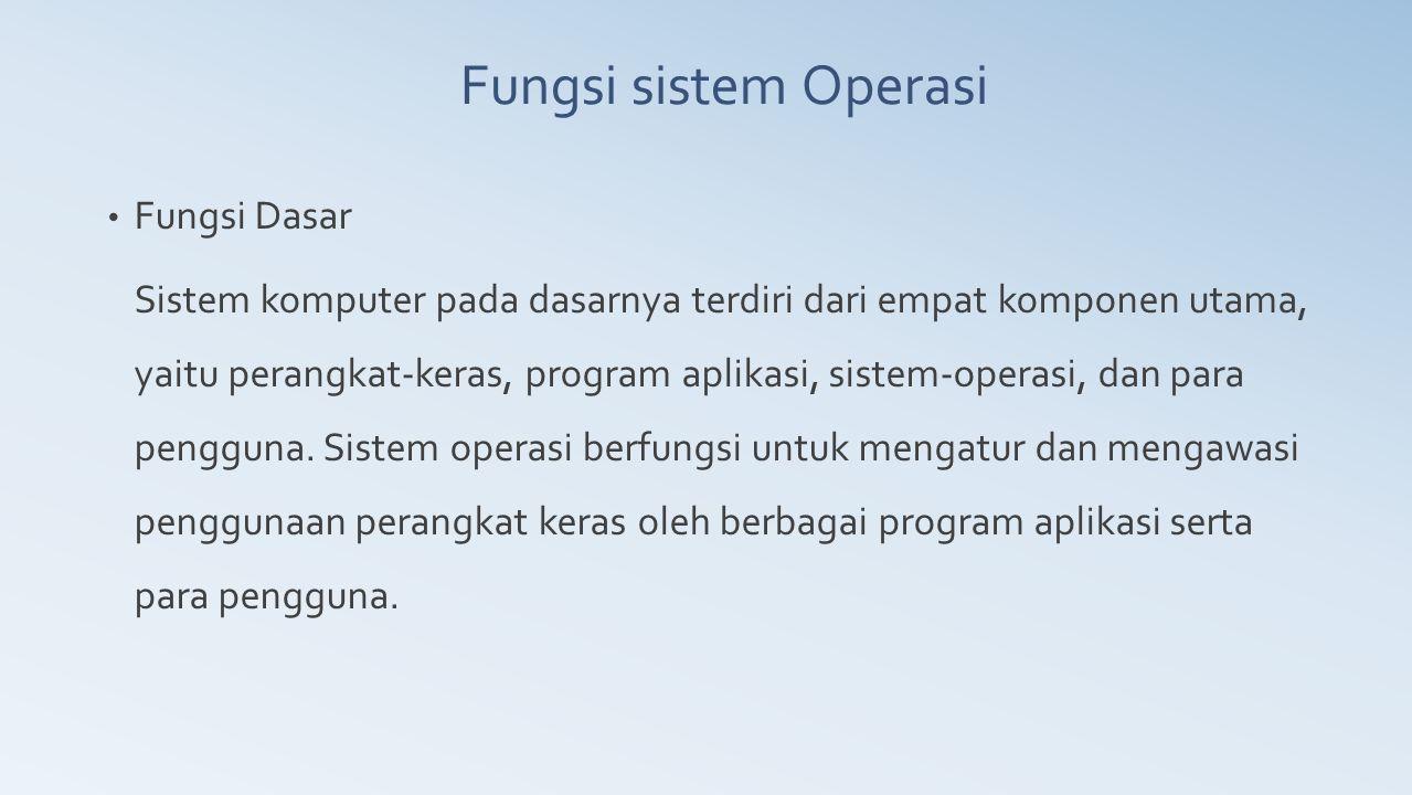 Fungsi Dasar Sistem komputer pada dasarnya terdiri dari empat komponen utama, yaitu perangkat-keras, program aplikasi, sistem-operasi, dan para penggu