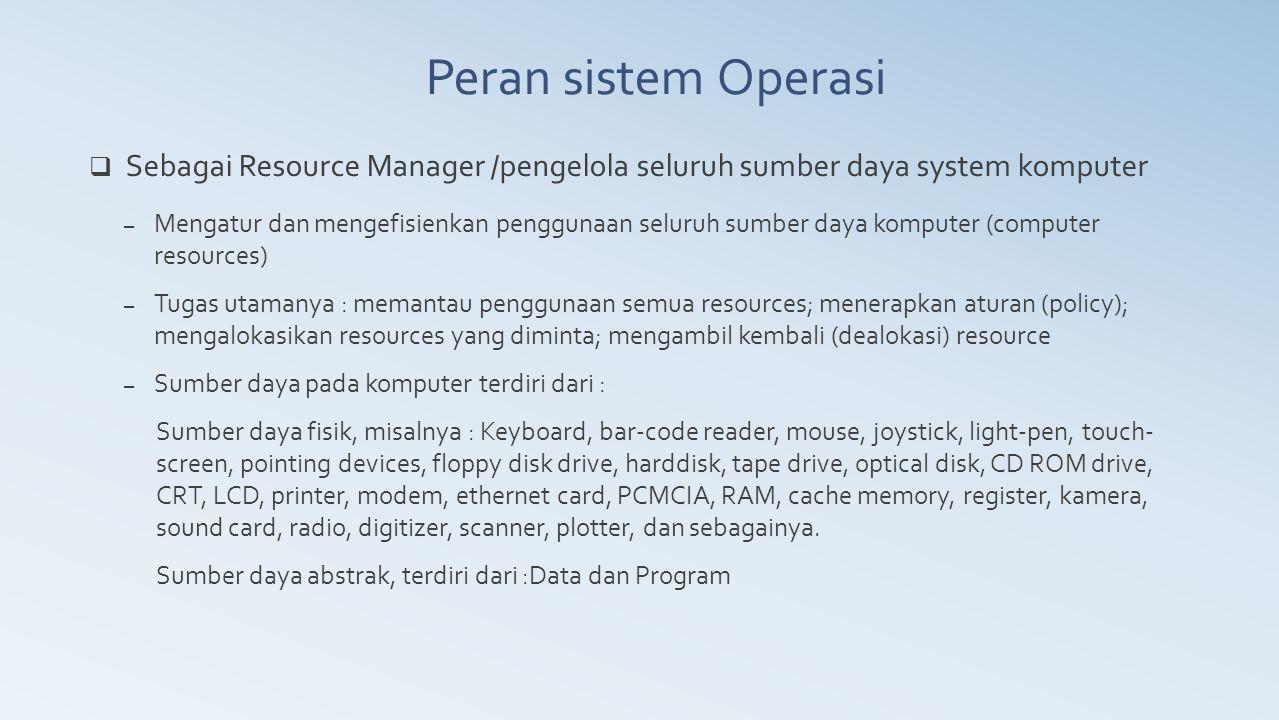  Sebagai Resource Manager /pengelola seluruh sumber daya system komputer – Mengatur dan mengefisienkan penggunaan seluruh sumber daya komputer (compu