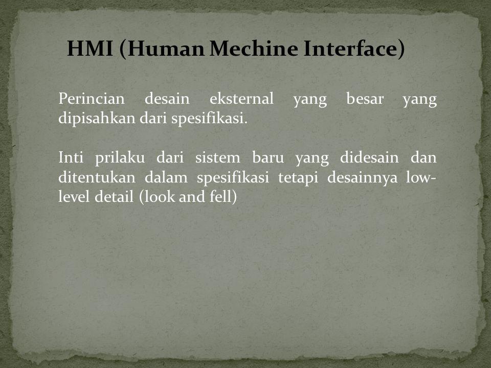 HMI (Human Mechine Interface) Perincian desain eksternal yang besar yang dipisahkan dari spesifikasi. Inti prilaku dari sistem baru yang didesain dan