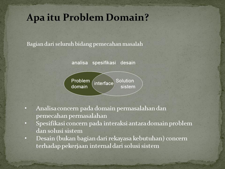 Apa itu Problem Domain? Bagian dari seluruh bidang pemecahan masalah Problem domain Solution sistem interface analisaspesifikasidesain Analisa concern