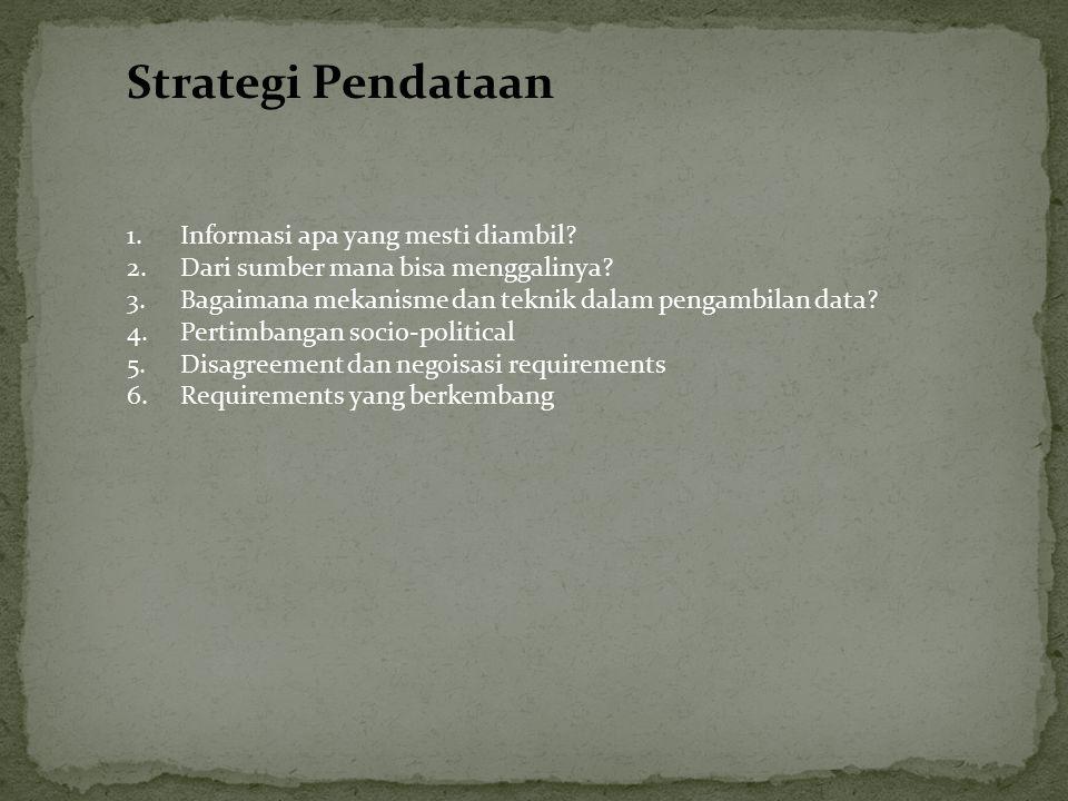 Strategi Pendataan 1.Informasi apa yang mesti diambil? 2.Dari sumber mana bisa menggalinya? 3.Bagaimana mekanisme dan teknik dalam pengambilan data? 4