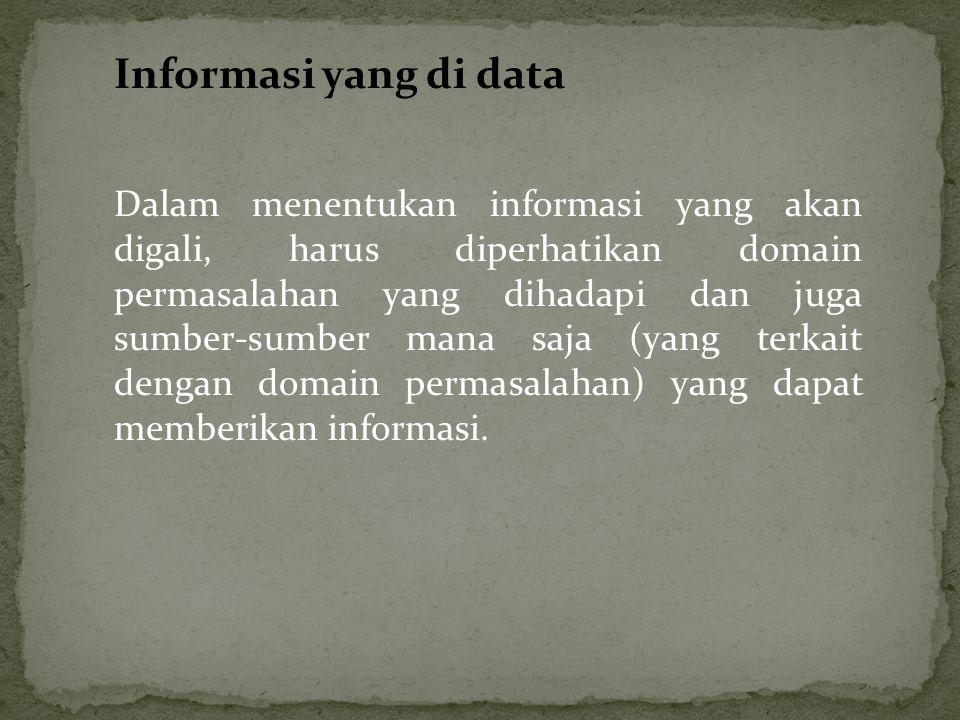 Informasi yang di data Dalam menentukan informasi yang akan digali, harus diperhatikan domain permasalahan yang dihadapi dan juga sumber-sumber mana s