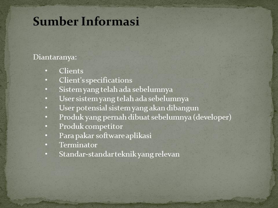 Sumber Informasi Diantaranya: Clients Client's specifications Sistem yang telah ada sebelumnya User sistem yang telah ada sebelumnya User potensial si