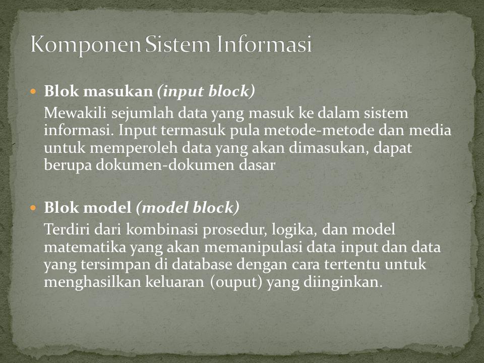 Blok masukan (input block) Mewakili sejumlah data yang masuk ke dalam sistem informasi. Input termasuk pula metode-metode dan media untuk memperoleh d