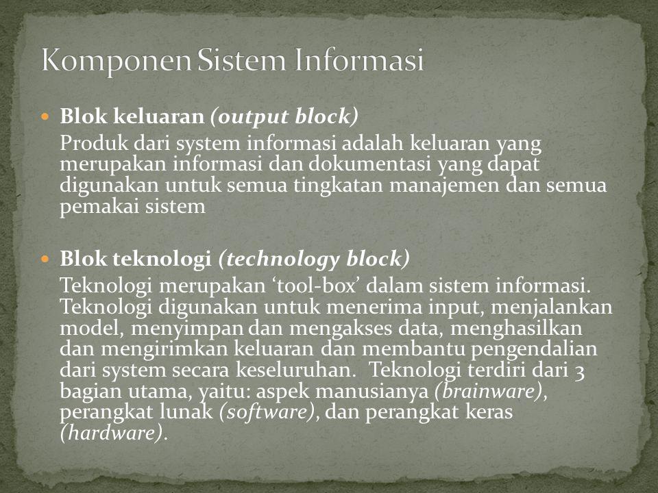 Blok keluaran (output block) Produk dari system informasi adalah keluaran yang merupakan informasi dan dokumentasi yang dapat digunakan untuk semua ti