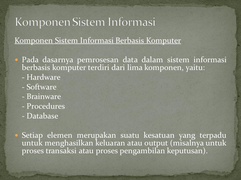 Komponen Sistem Informasi Berbasis Komputer Pada dasarnya pemrosesan data dalam sistem informasi berbasis komputer terdiri dari lima komponen, yaitu: