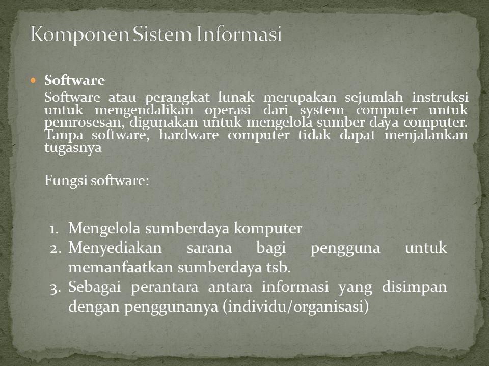 Software Software atau perangkat lunak merupakan sejumlah instruksi untuk mengendalikan operasi dari system computer untuk pemrosesan, digunakan untuk