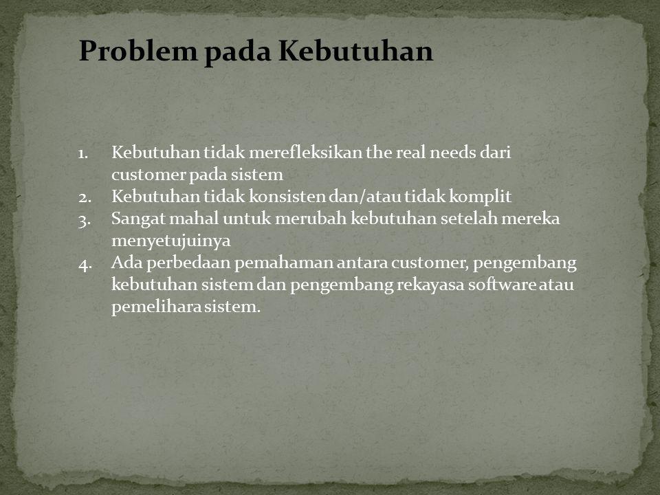 Problem pada Kebutuhan 1.Kebutuhan tidak merefleksikan the real needs dari customer pada sistem 2.Kebutuhan tidak konsisten dan/atau tidak komplit 3.S