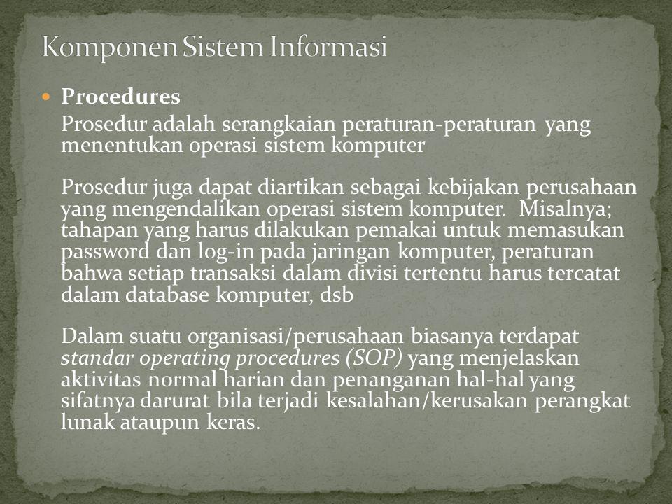 Procedures Prosedur adalah serangkaian peraturan-peraturan yang menentukan operasi sistem komputer Prosedur juga dapat diartikan sebagai kebijakan per