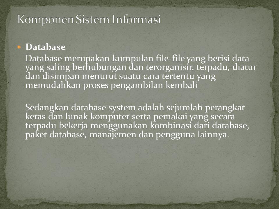 Database Database merupakan kumpulan file-file yang berisi data yang saling berhubungan dan terorganisir, terpadu, diatur dan disimpan menurut suatu c