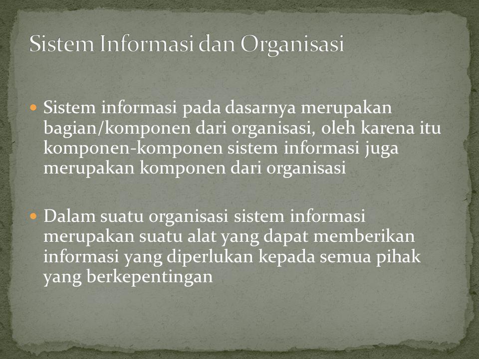 Sistem informasi pada dasarnya merupakan bagian/komponen dari organisasi, oleh karena itu komponen-komponen sistem informasi juga merupakan komponen d