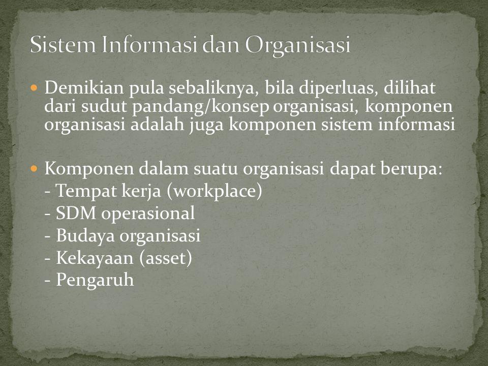 Demikian pula sebaliknya, bila diperluas, dilihat dari sudut pandang/konsep organisasi, komponen organisasi adalah juga komponen sistem informasi Komp