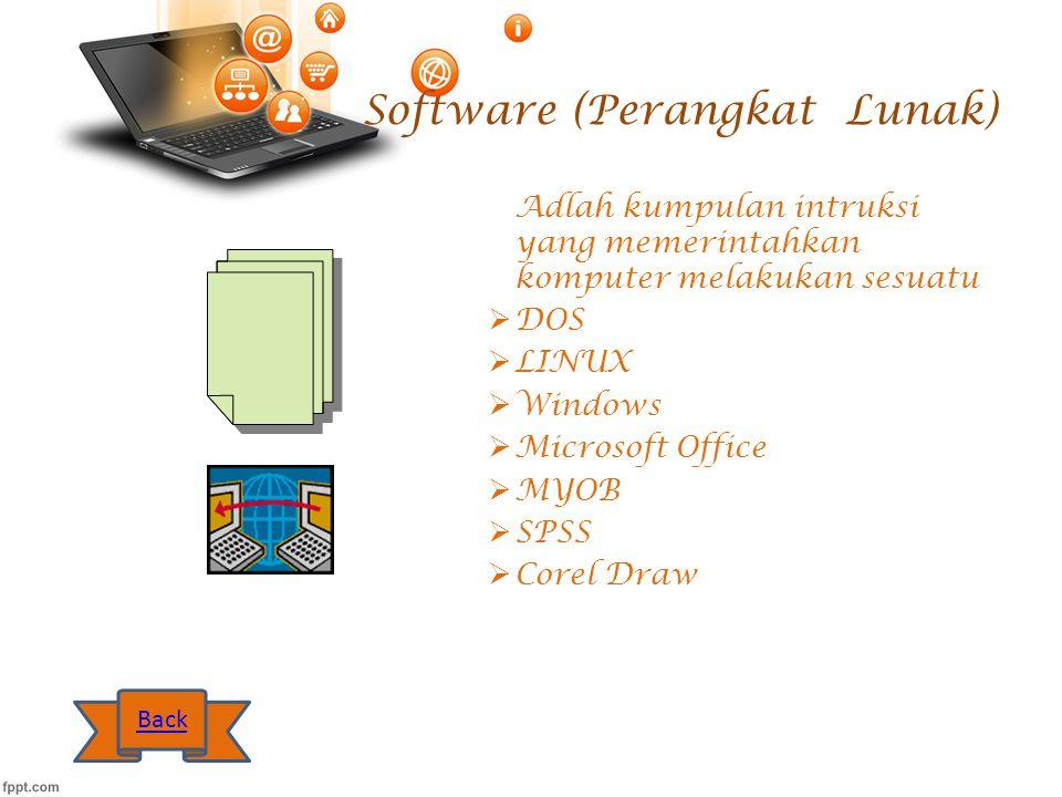 Software (Perangkat Lunak) Adlah kumpulan intruksi yang memerintahkan komputer melakukan sesuatu  DOS  LINUX  Windows  Microsoft Office  MYOB  S