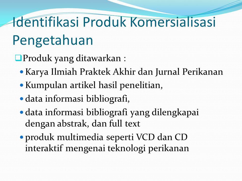 Identifikasi Produk Komersialisasi Pengetahuan  Produk yang ditawarkan : Karya Ilmiah Praktek Akhir dan Jurnal Perikanan Kumpulan artikel hasil penel