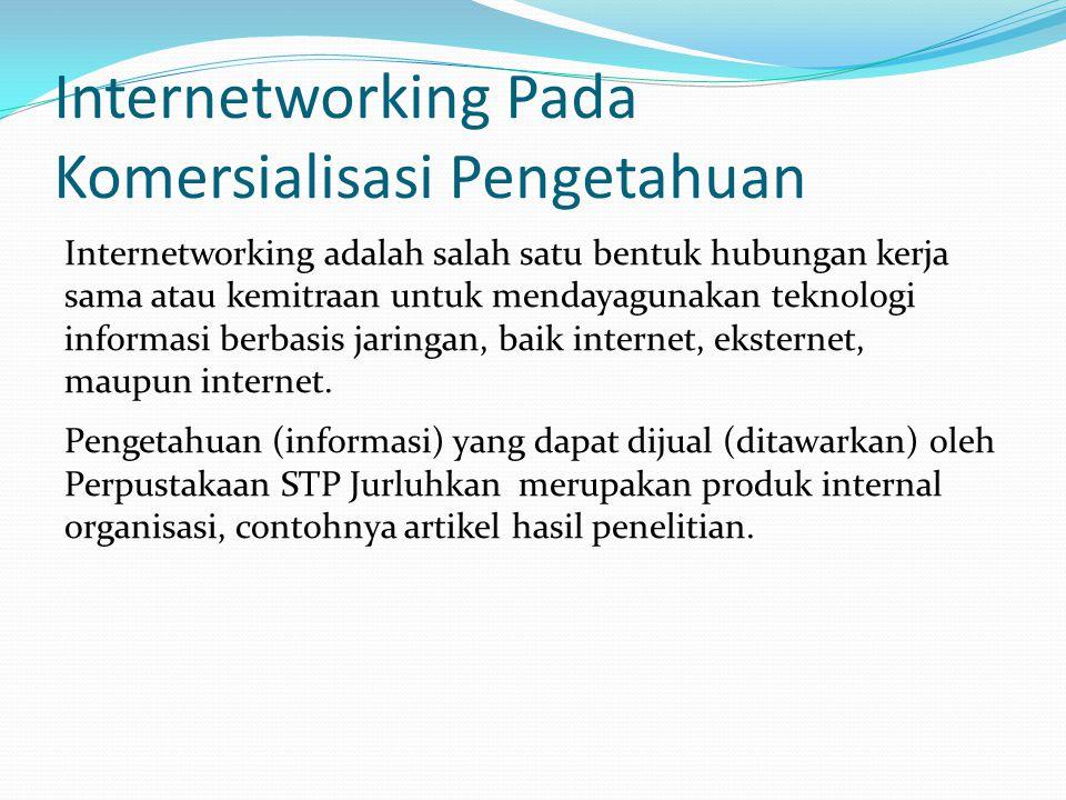 Internetworking Pada Komersialisasi Pengetahuan Internetworking adalah salah satu bentuk hubungan kerja sama atau kemitraan untuk mendayagunakan tekno