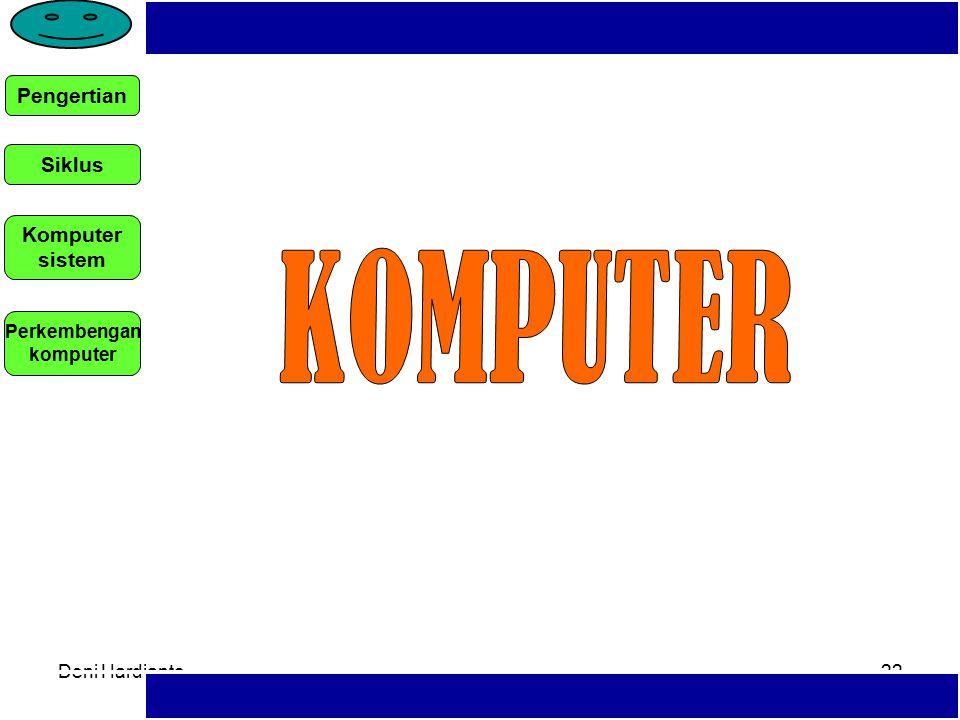 Deni Hardianto21 TIK: SEGALA ASPEK YANG TERKAIT DENGAN PEMROSESAN, MANIPULASI, PENGELOLAAN, DAN PEMINDAHAN INFORMASI ANTAR MEDIA MENGGUNAKAN TEKNOLOGI TERTENTU (DEPDIKNAS, 2004) –HARDWARE, SOFTWARE ATAU GABUNGAN KEDUANYA Teknologi bukan sekedar hardware namun juga software berupa program pendidikan yang harus disusun dengan prinsip-prnsip tertentu.
