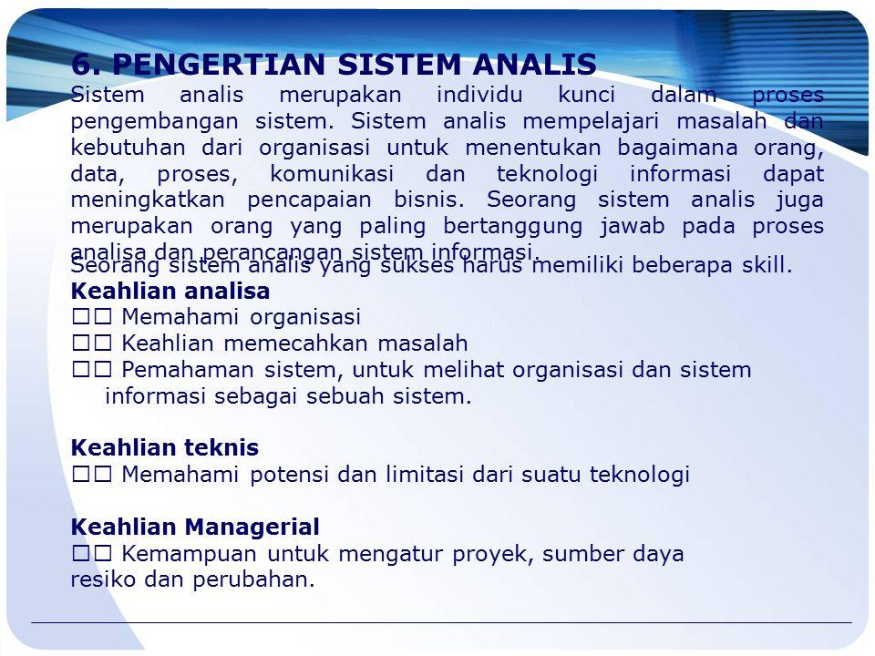 6. PENGERTIAN SISTEM ANALIS Sistem analis merupakan individu kunci dalam proses pengembangan sistem. Sistem analis mempelajari masalah dan kebutuhan d