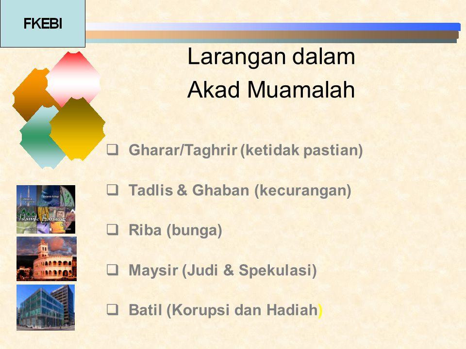 Larangan dalam Akad Muamalah  Gharar/Taghrir (ketidak pastian)  Tadlis & Ghaban (kecurangan)  Riba (bunga)  Maysir (Judi & Spekulasi)  Batil (Kor