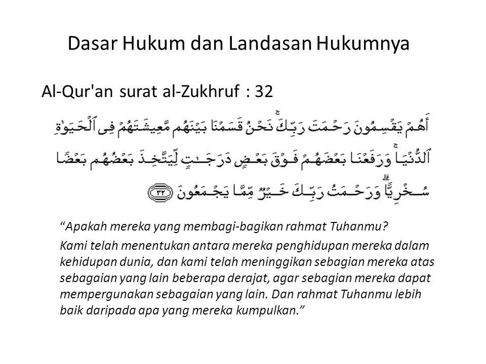 Dasar Hukum dan Landasan Hukumnya Al-Qur an surat al-Zukhruf : 32 Apakah mereka yang membagi-bagikan rahmat Tuhanmu.