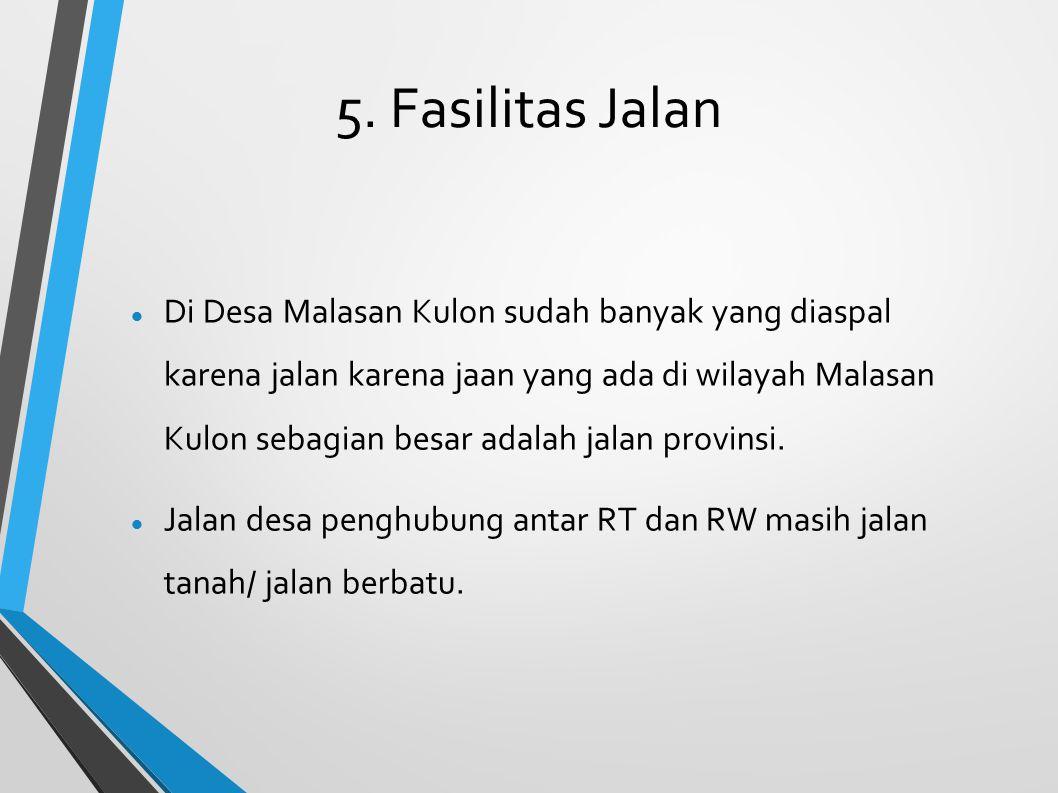 5. Fasilitas Jalan Di Desa Malasan Kulon sudah banyak yang diaspal karena jalan karena jaan yang ada di wilayah Malasan Kulon sebagian besar adalah ja