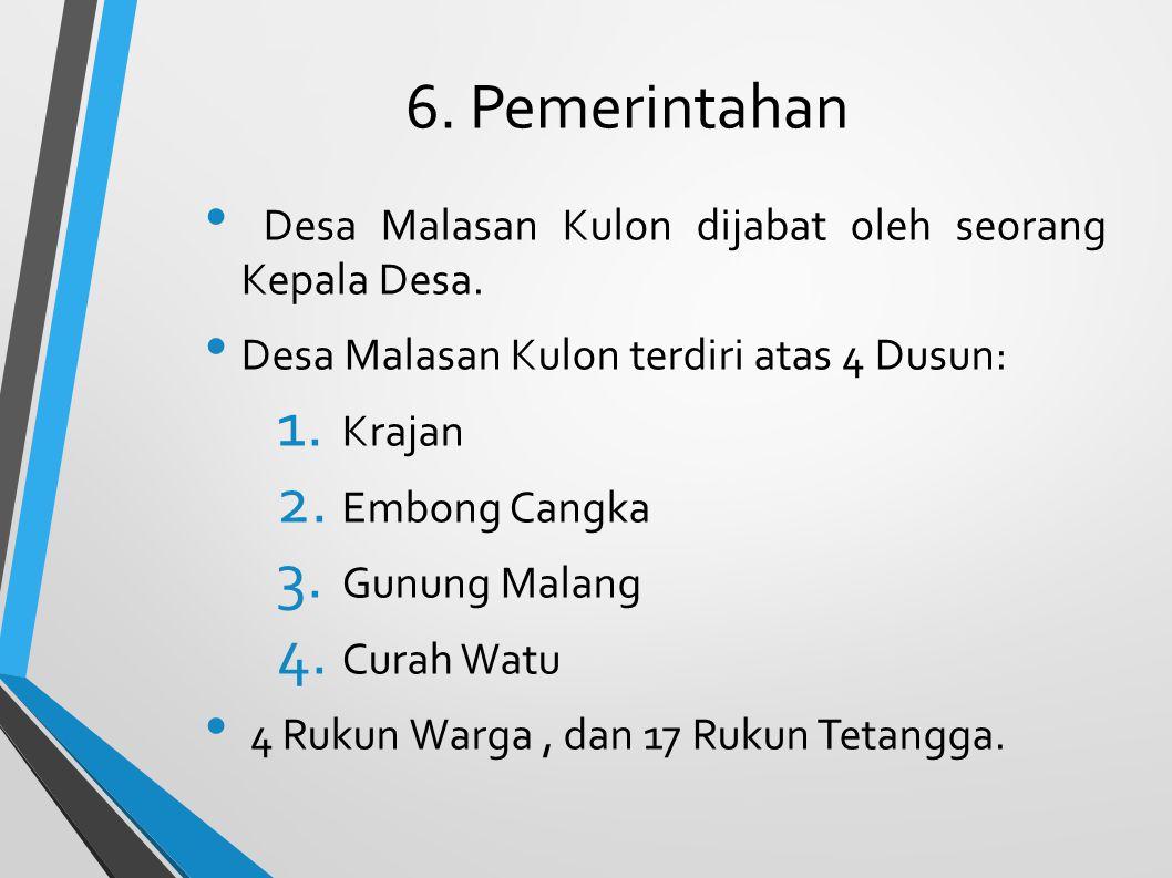 6. Pemerintahan Desa Malasan Kulon dijabat oleh seorang Kepala Desa. Desa Malasan Kulon terdiri atas 4 Dusun: 1. Krajan 2. Embong Cangka 3. Gunung Mal