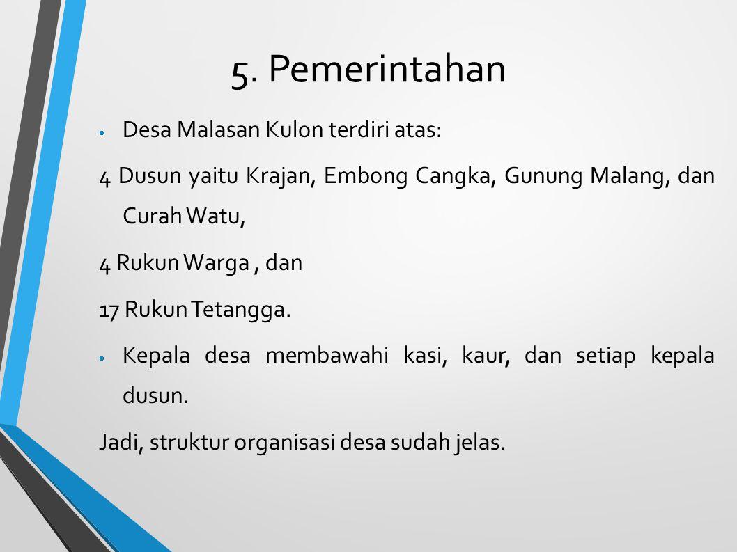 5. Pemerintahan  Desa Malasan Kulon terdiri atas: 4 Dusun yaitu Krajan, Embong Cangka, Gunung Malang, dan Curah Watu, 4 Rukun Warga, dan 17 Rukun Tet