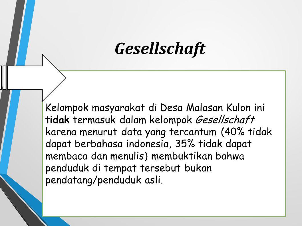 Kelompok masyarakat di Desa Malasan Kulon ini tidak termasuk dalam kelompok Gesellschaft karena menurut data yang tercantum (40% tidak dapat berbahasa