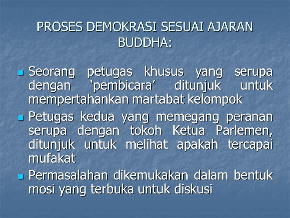 PROSES DEMOKRASI SESUAI AJARAN BUDDHA: Seorang petugas khusus yang serupa dengan 'pembicara' ditunjuk untuk mempertahankan martabat kelompok Seorang p