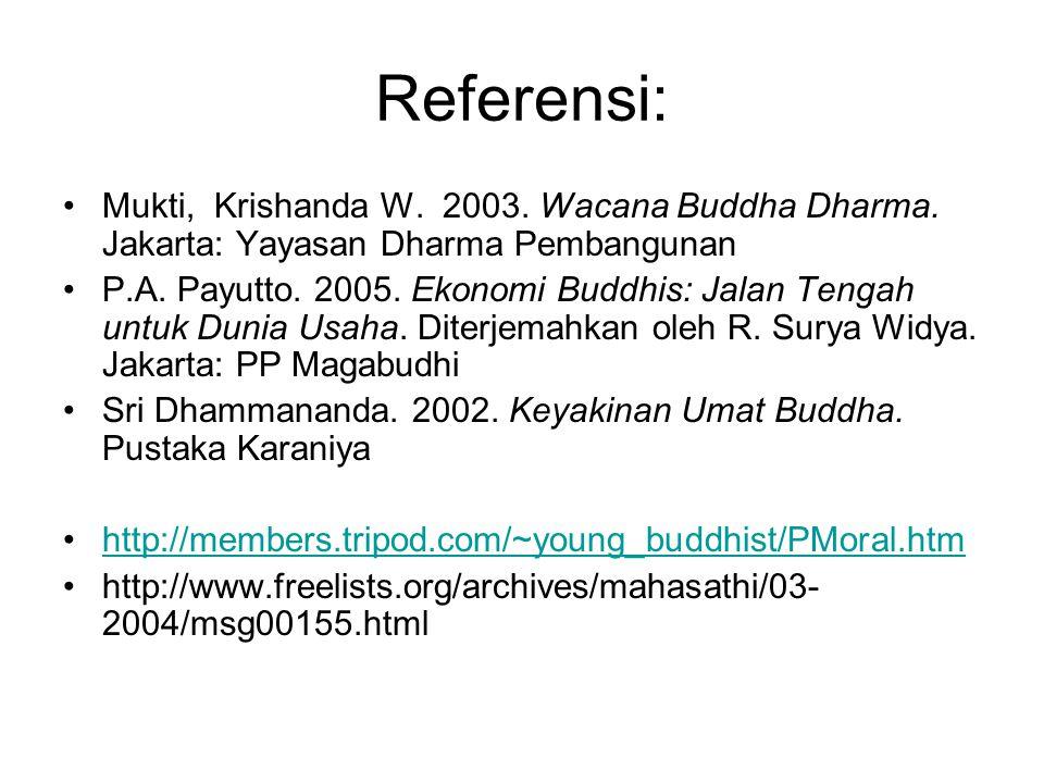 Referensi: Mukti, Krishanda W. 2003. Wacana Buddha Dharma. Jakarta: Yayasan Dharma Pembangunan P.A. Payutto. 2005. Ekonomi Buddhis: Jalan Tengah untuk