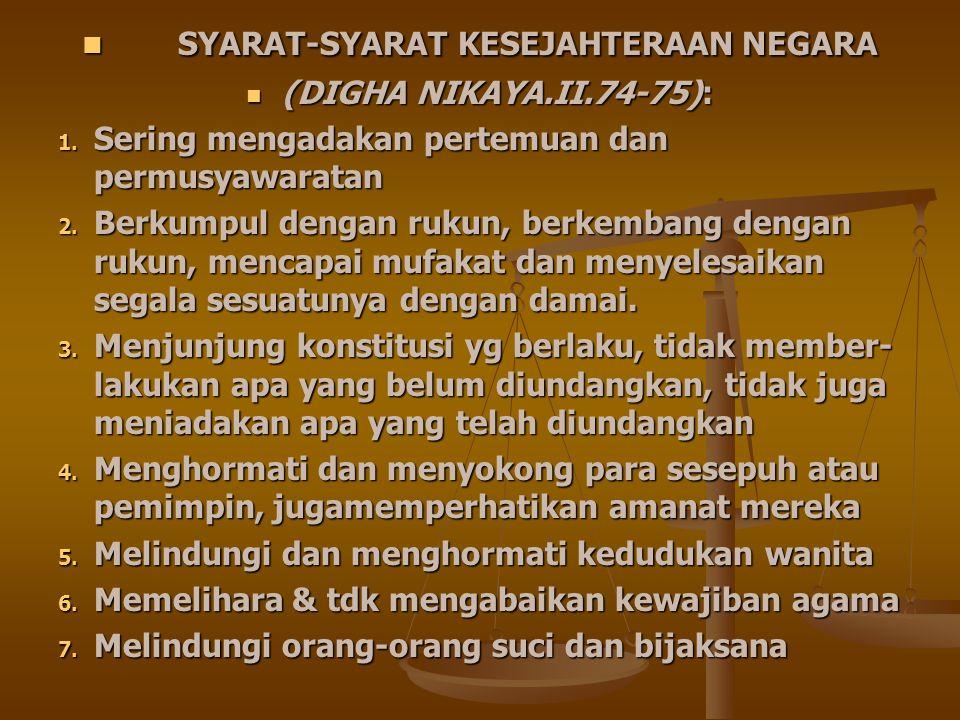 SYARAT-SYARAT KESEJAHTERAAN NEGARA SYARAT-SYARAT KESEJAHTERAAN NEGARA (DIGHA NIKAYA.II.74-75): (DIGHA NIKAYA.II.74-75): 1. Sering mengadakan pertemuan