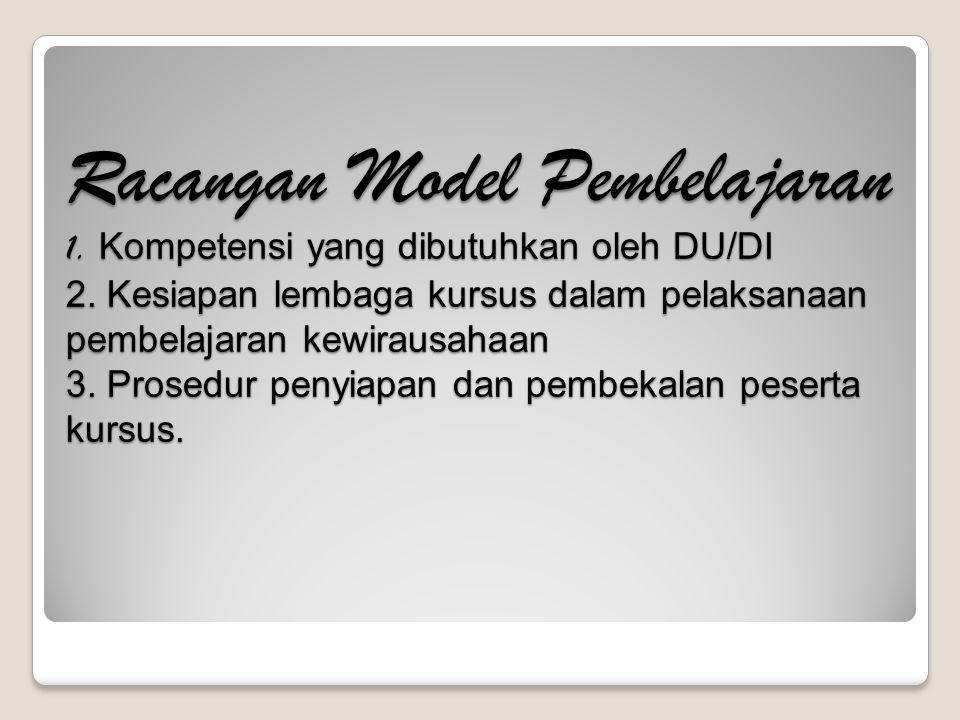 Racangan Model Pembelajaran 1. Kompetensi yang dibutuhkan oleh DU/DI 2. Kesiapan lembaga kursus dalam pelaksanaan pembelajaran kewirausahaan 3. Prosed