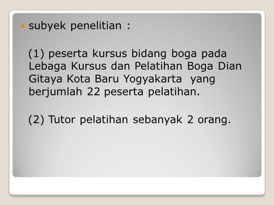 subyek penelitian : (1) peserta kursus bidang boga pada Lebaga Kursus dan Pelatihan Boga Dian Gitaya Kota Baru Yogyakarta yang berjumlah 22 peserta pe